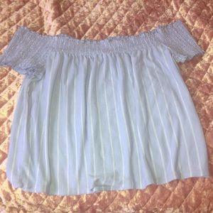 Off the shoulder baby blue and white striped top